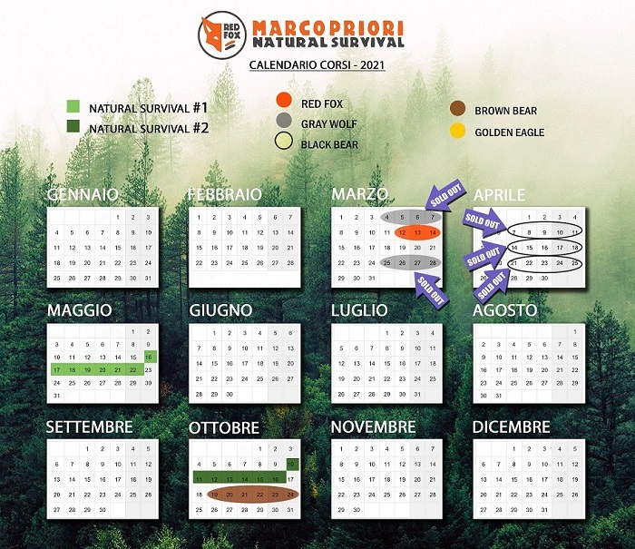 Calendario corsi natural survival 2021